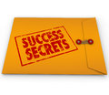 Success secrets winning information classified envelope a yellow with a red stamp with the words full of on succeeding or in life Royalty Free Stock Image