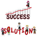 Success solution illustration of words and with worker Royalty Free Stock Image