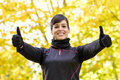 Success sportwoman with thumbs up Stock Images
