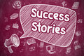Success Stories - Hand Drawn Illustration on Red Chalkboard.