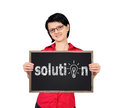 Success symbol girl holding a blackboard with Stock Photo