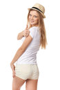 Success teen girl giving thumbs up Royalty Free Stock Photo
