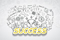 Success text, With creative drawing charts and graphs business success strategy plan idea, Inspiration concept modern design templ Royalty Free Stock Photo