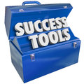 Success tools toolbox skills achieving goals words in a blue metal to illustrate learning new to achieve your in your job career Stock Image