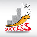 Success upturn growth infografic with bar chart and stick figure Royalty Free Stock Images