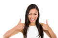 Success woman excited giving thumbs up young smiling mixed race businesswoman isolated on a white background Royalty Free Stock Image