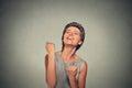 Success. Woman exults pumping fists ecstatic celebrates success Royalty Free Stock Photo