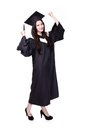 Success woman graduate student wear graduation cap and gown and smile confidently asian Stock Photography