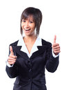 Success woman isolated giving thumbs up sign Royalty Free Stock Image