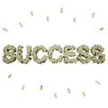 Success word shaped pile of money isolated on white Royalty Free Stock Photo