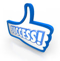 Success word thumb s up like approval feedback rating the in a blue symbol to illustrate you a product company or service and Stock Images