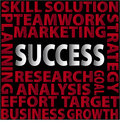 Success words skill solution teamwork marketing planning research analysis goal effort target business growth strategy red on Stock Images