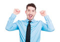 Success yay closeup portrait of excited energetic happy smiling student business man winning arms fist pumped celebrating isolated Royalty Free Stock Photos