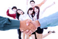 Successful agreement team cheering as background Royalty Free Stock Photo