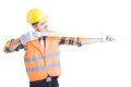 Successful architect holding a meter instrument as precise measu Royalty Free Stock Photo