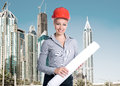 Successful architect on office build background Royalty Free Stock Photos