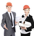 Successful architects with drawings and documents on a white background Royalty Free Stock Photo