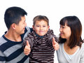 Successful asian child with his parents Stock Image