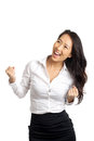 Successful asian woman cheering business Stock Image