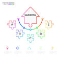 Successful business concept arrow puzzle infographic template. Infographics with icons and elements