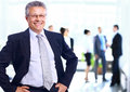 Successful business man standing with his staff in background at office Royalty Free Stock Photos