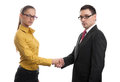 Successful business partners handshaking isolated on white background Royalty Free Stock Images