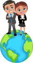 Successful business people on the top of the world cartoon woman meg and man bob standing with folded arms isolated white Royalty Free Stock Photography
