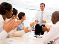 Successful business presentation happy men making a Royalty Free Stock Photo