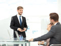 Successful business presentation of a man at the office Royalty Free Stock Photo