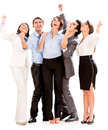 Successful business team arms up isolated over white Stock Images
