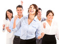 Successful business team celebrating arms up isolated over white Royalty Free Stock Photos