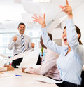 Successful business team celebrating at the office in a meeting Stock Photography