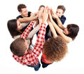Successful business team celebrating success pile of hands their with a high five Stock Photography