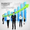 Successful business team easy to edit vector illustration of infront of graph Stock Images