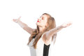 Successful business woman with arms wide open on white background Royalty Free Stock Photography