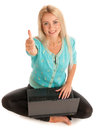 Successful business woman attractive blonde girl working on laptop and showing thumb up isolated over white background Royalty Free Stock Photo