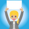 Successful business woman with a clean table in hands vector illustration Stock Images