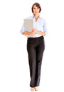 Successful business woman holding laptop isolated over white Royalty Free Stock Image