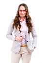 Successful business woman isolated over white with glasses and smile Royalty Free Stock Photo