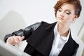 Successful business woman, looking at the laptop Royalty Free Stock Photo