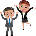 Successful business woman and man cartoon meg bob exulting for achieving good results isolated on white background you can find Stock Photography