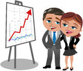 Successful business woman and man looking at posit hugged cartoon meg bob who are happy positive trend graph isolated on white Royalty Free Stock Photography