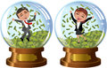 Successful business woman and man under money rain illustration featuring cartoon meg bob exulting jumping inside snowglobe Royalty Free Stock Photo
