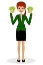 Successful business woman with money in hands vector illustration Stock Images