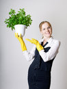 Successful business woman with a potted plant in the hands Stock Photography