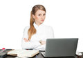 Successful business woman sitting at table using laptop computer Royalty Free Stock Photo