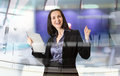 Successful business woman smiling portrait with note pad portrait in office against glass reflection of Stock Photography