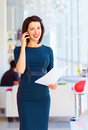Successful business woman at work in office Stock Images