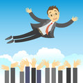 Successful businessman being thrown in the air by his teamwork concept of success leadership and team work business cartoon Royalty Free Stock Photo