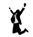 Successful businessman celebrating victory silhouette Stock Photos
